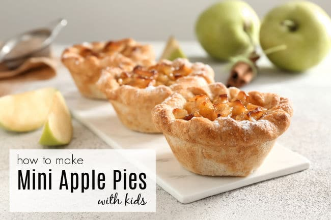 Mini apple pies for kids to make with apples in background for learning how to cut safely.