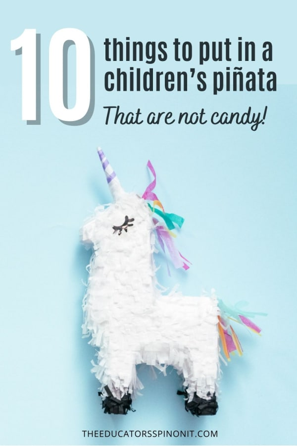 Unicorn Pinata sharing 10 fun things to fill a pinata that are not candy