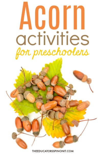 acorn activities for preschoolers with acorns and fall leaves