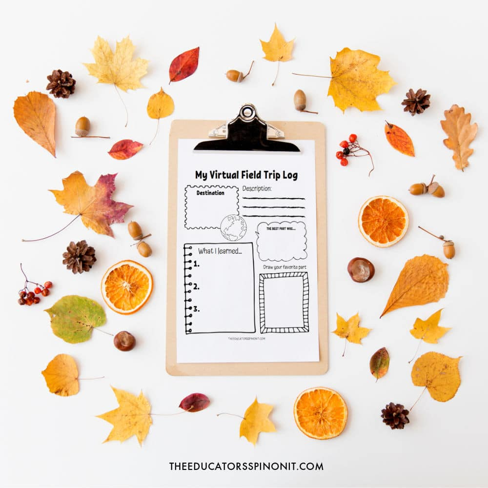 Printable fall virtual field trip log on clipboard with leaves, acorns and pinecones.