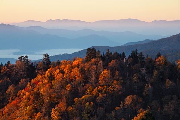 Sunrise at Smoky Mountains. Great Smoky Mountains National Park, USA