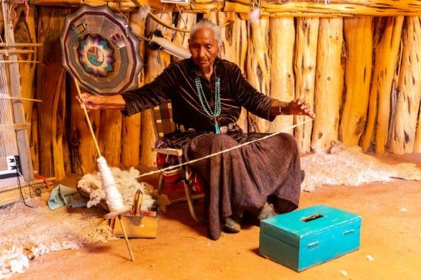 Old Navajo woman in Navajo nation reservation at Monument Valley, Arizona, USA