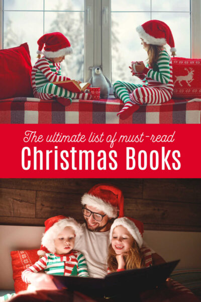 Children reading christmas books in santa hats with Dad.