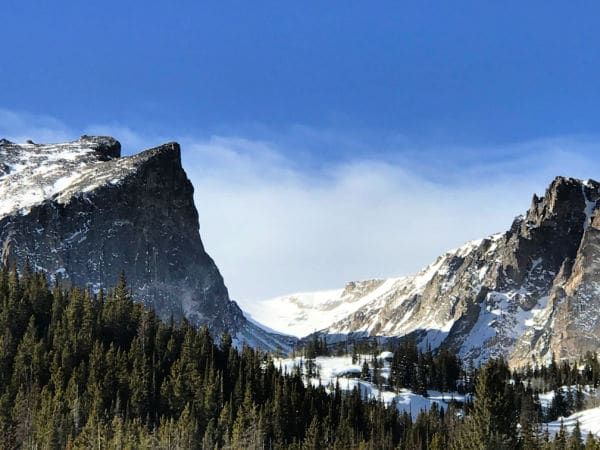Snow on mountains in Rocky Mountain National Park
