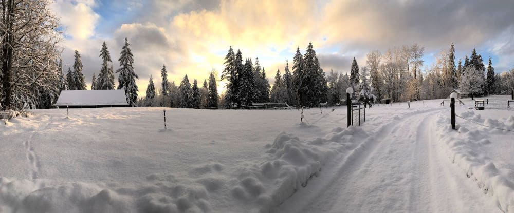 Snow covered farm in Washington during Winter