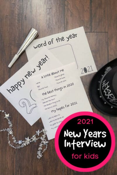 2021 New Years Interview Printable with word of the year, coloring sheet and all about me interview