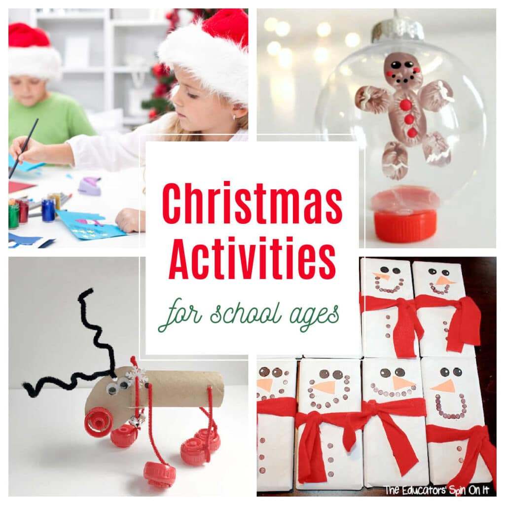 adorable christmas activities for school kids to create for the holidays for loved ones including gingerbread fingerprint ornament, snowman candy wrappers and reindeer STEm Challenge