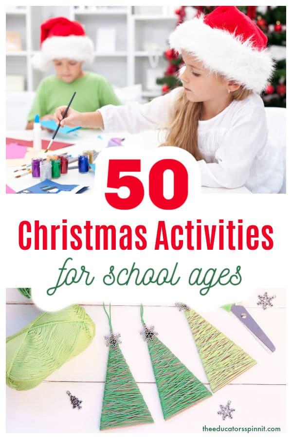 school children in santa hats working on christmas activities and crafts