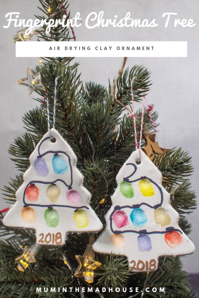 Fingerprint Christmas lights on tree ornament