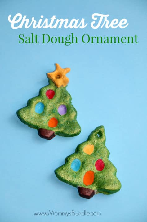 christmas tree salt dough ornament with fingerprint christmas lights