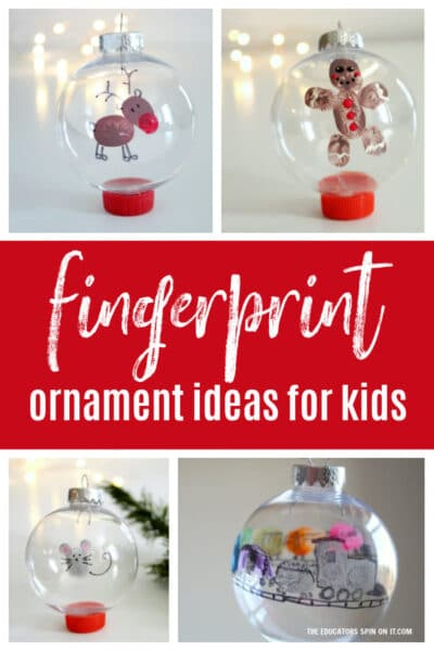 fingerprint christmas ornaments for kids featuring mouse, reindeer, train and gingerbread man.