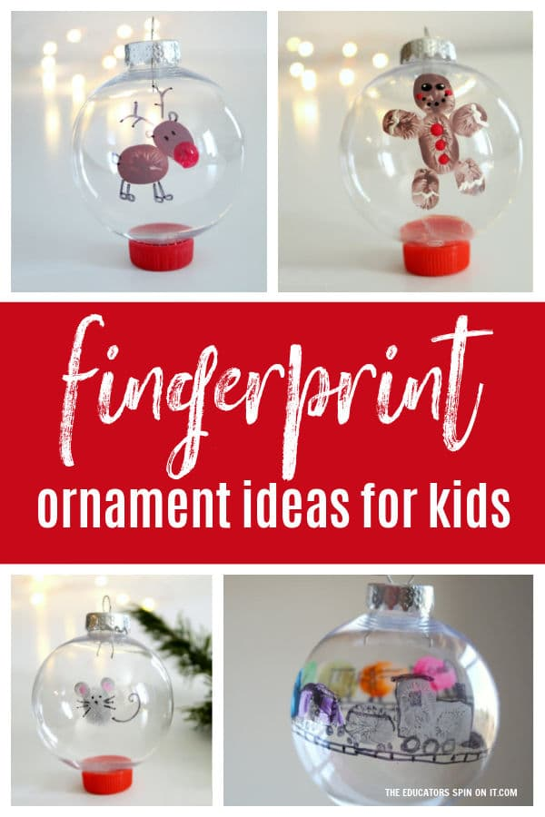 Fingerprint ornament ideas featuring gingerbread man, reindeer, mouse and train created using children's thumbprints.