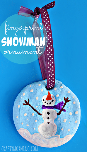 snowman fingerprint on salt dough ornament
