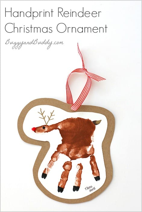 handprint reindeer ornament for kids to make