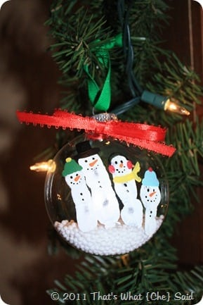 Snowman fingerprints on ornament