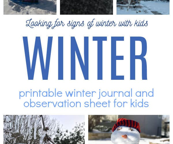 Winter journal for kids featuring ways to look for signs of winter sampled in images like icicles, snowflakes, snowman and more