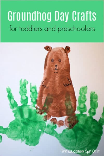 groundhog day crafts for preschoolers and toddlers using handprints and footprints