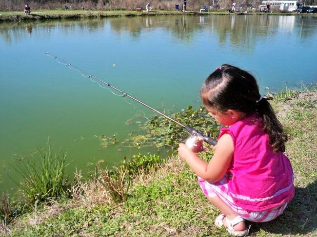 Kid fishing in pond
