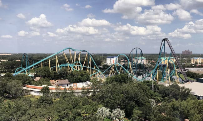 Roller coaster rides in skyline at Seaworld for ideas for Amusement park virtual field trips for kids