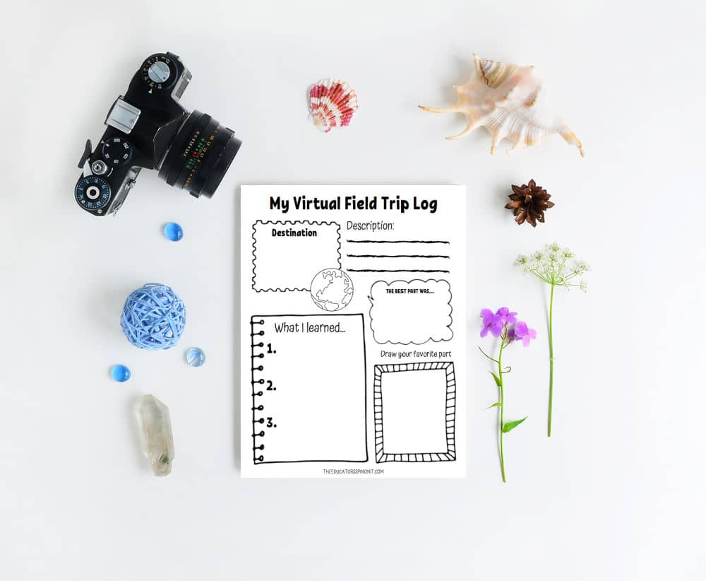 Summer Virtual Field Trip Log for Kids to track the virtual tours they view.
