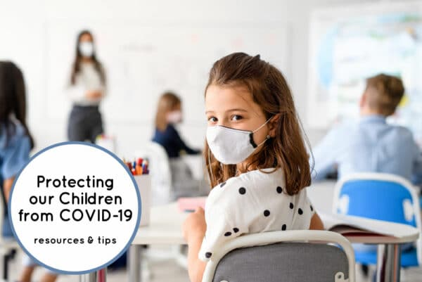 Children wearing mask in school setting to help to protect our children from Covid 19
